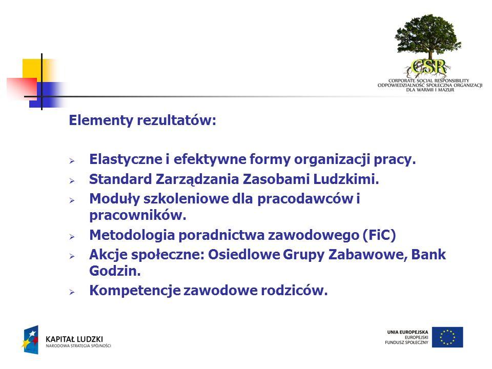 Elementy rezultatów: Elastyczne i efektywne formy organizacji pracy. Standard Zarządzania Zasobami Ludzkimi.