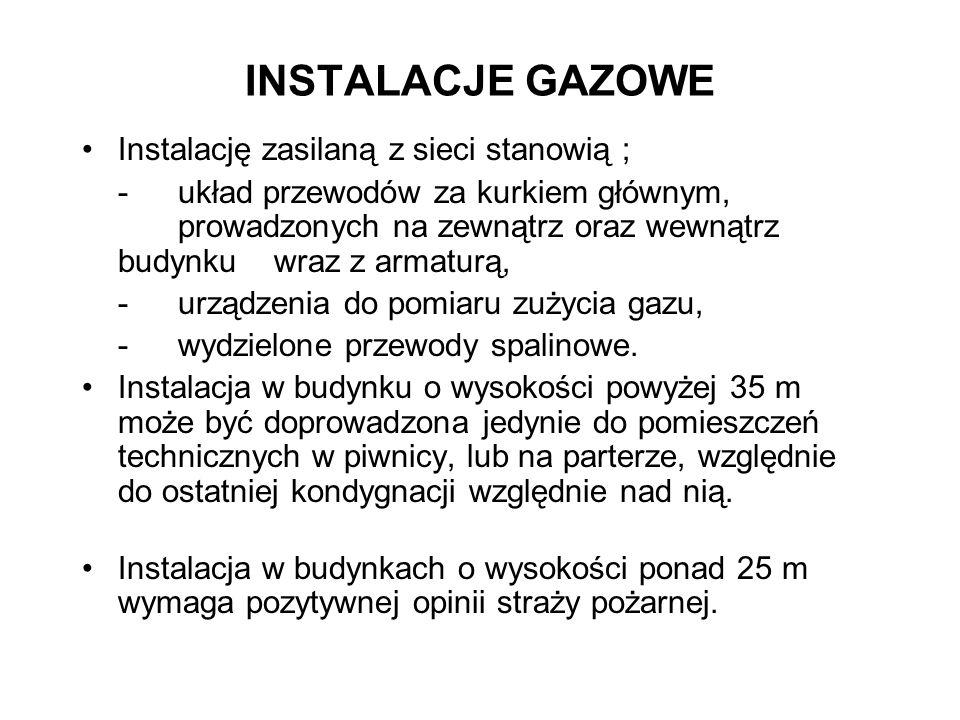INSTALACJE GAZOWE Instalację zasilaną z sieci stanowią ;
