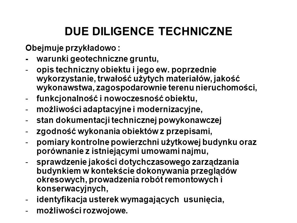 DUE DILIGENCE TECHNICZNE