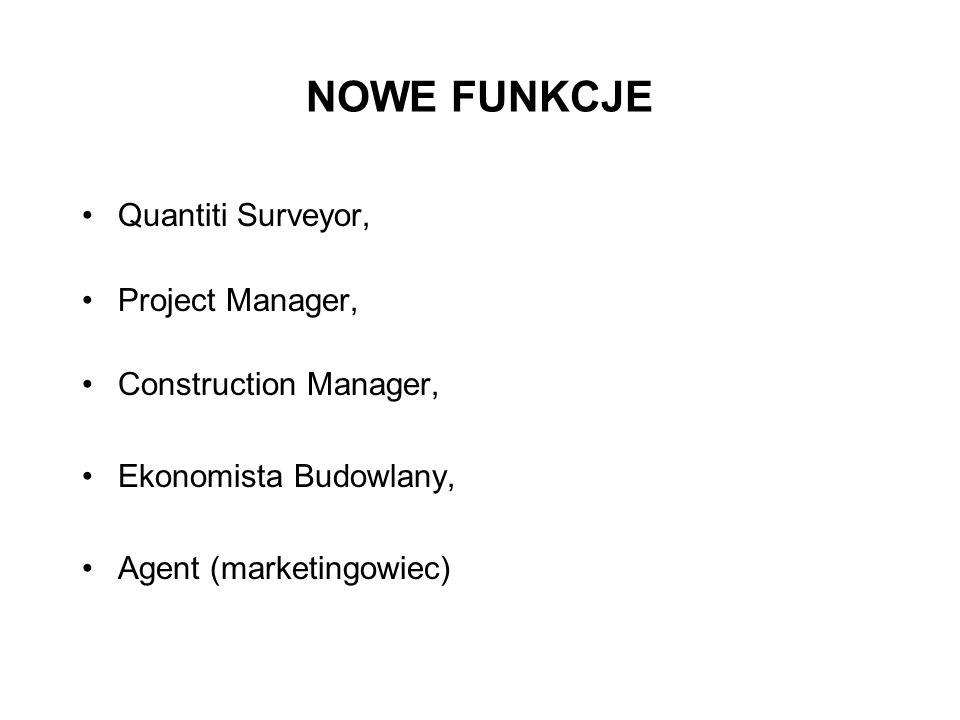 NOWE FUNKCJE Quantiti Surveyor, Project Manager, Construction Manager,