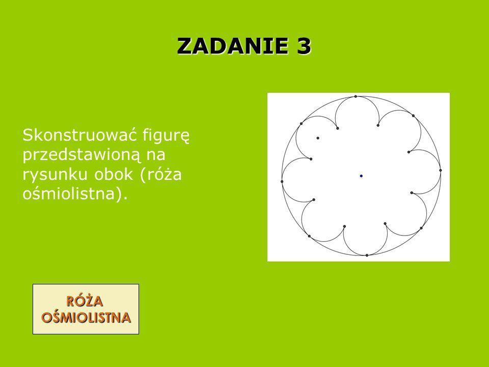 ZADANIE 3 Skonstruować figurę przedstawioną na rysunku obok (róża ośmiolistna). RÓŻA OŚMIOLISTNA