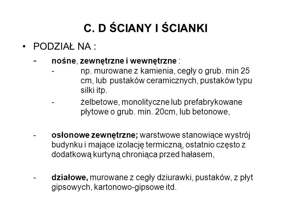 C. D ŚCIANY I ŚCIANKI PODZIAŁ NA :
