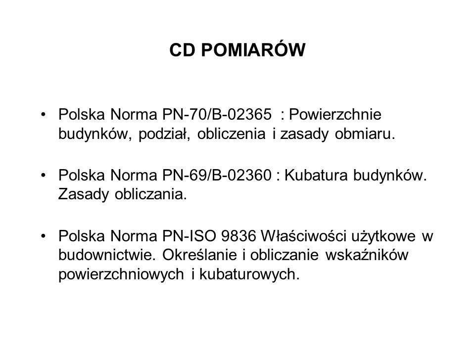 CD POMIARÓWPolska Norma PN-70/B-02365 : Powierzchnie budynków, podział, obliczenia i zasady obmiaru.