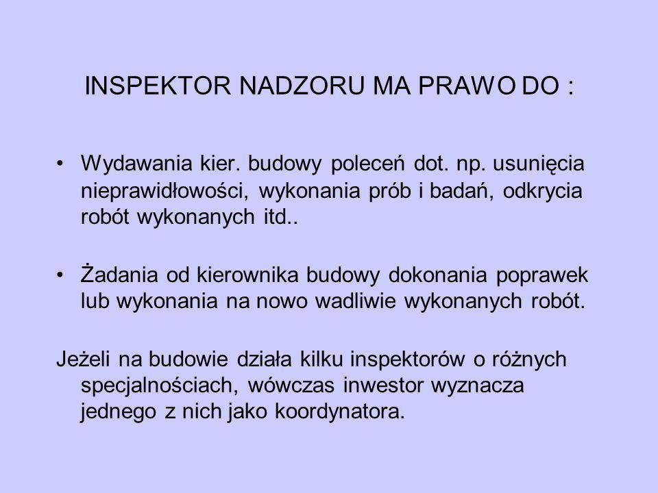 INSPEKTOR NADZORU MA PRAWO DO :