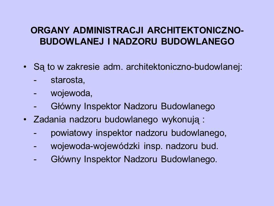 ORGANY ADMINISTRACJI ARCHITEKTONICZNO-BUDOWLANEJ I NADZORU BUDOWLANEGO