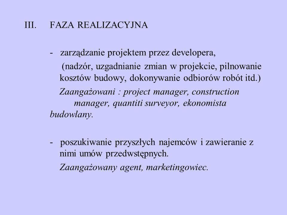 FAZA REALIZACYJNA- zarządzanie projektem przez developera,