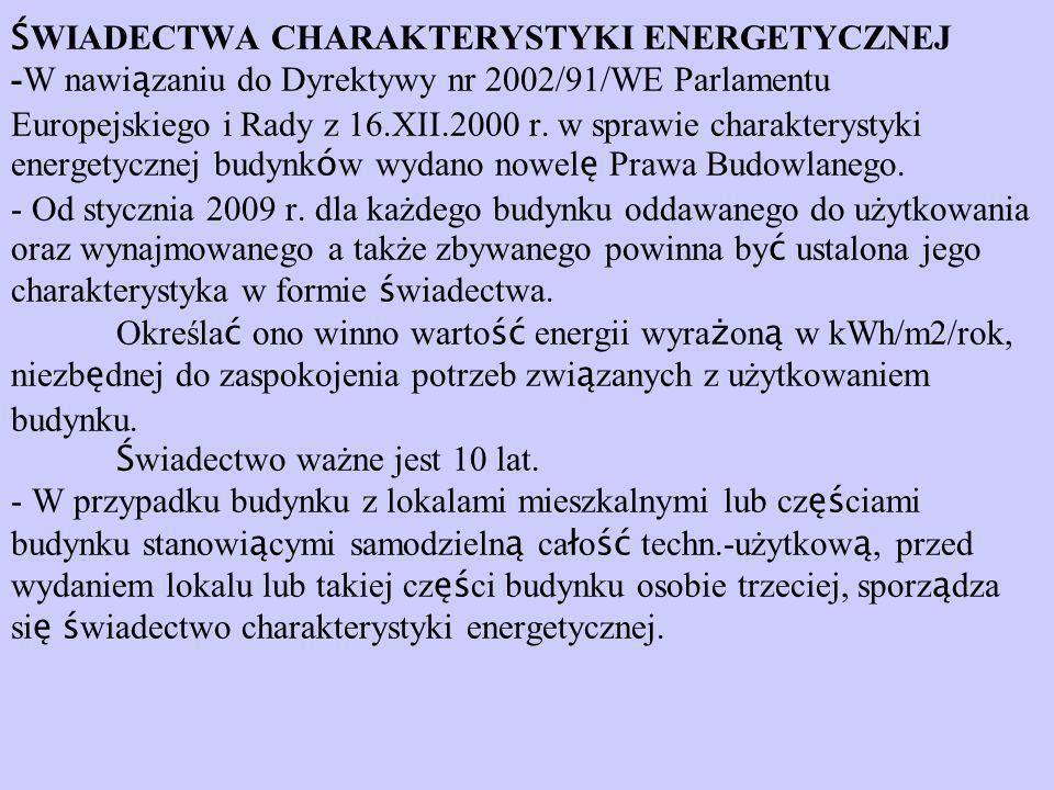 ŚWIADECTWA CHARAKTERYSTYKI ENERGETYCZNEJ -W nawiązaniu do Dyrektywy nr 2002/91/WE Parlamentu Europejskiego i Rady z 16.XII.2000 r.