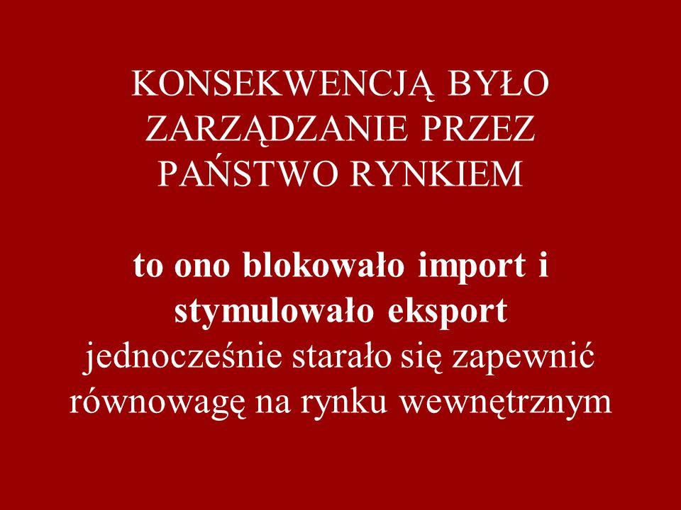 KONSEKWENCJĄ BYŁO ZARZĄDZANIE PRZEZ PAŃSTWO RYNKIEM to ono blokowało import i stymulowało eksport jednocześnie starało się zapewnić równowagę na rynku wewnętrznym