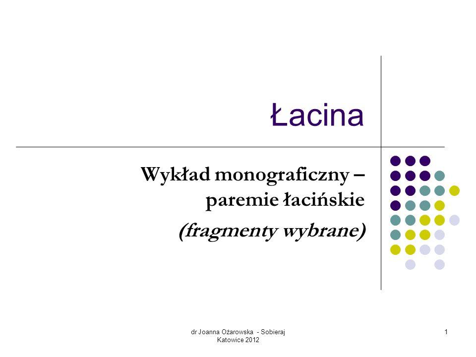 Wykład monograficzny – paremie łacińskie (fragmenty wybrane)