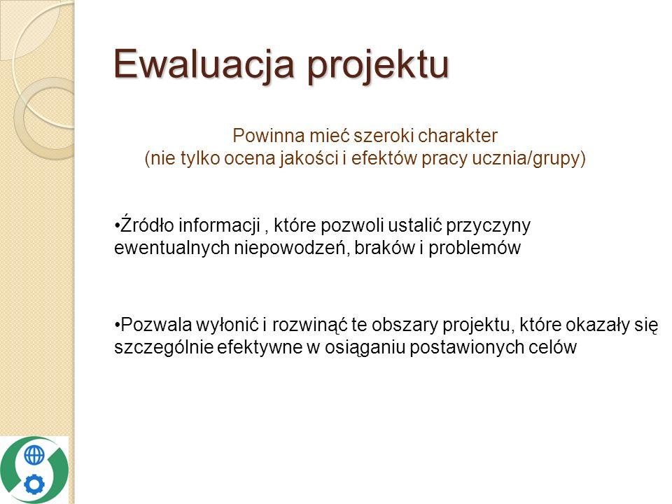 Ewaluacja projektu Powinna mieć szeroki charakter (nie tylko ocena jakości i efektów pracy ucznia/grupy)
