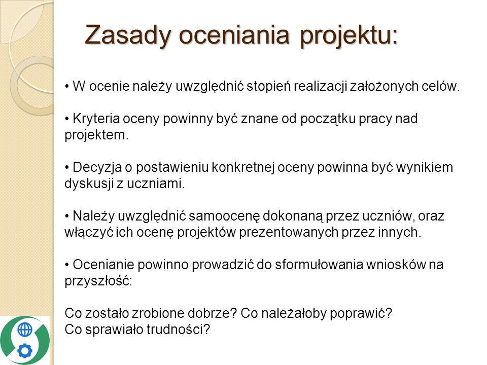Zasady oceniania projektu: