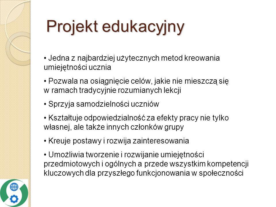 Projekt edukacyjny Jedna z najbardziej użytecznych metod kreowania umiejętności ucznia.