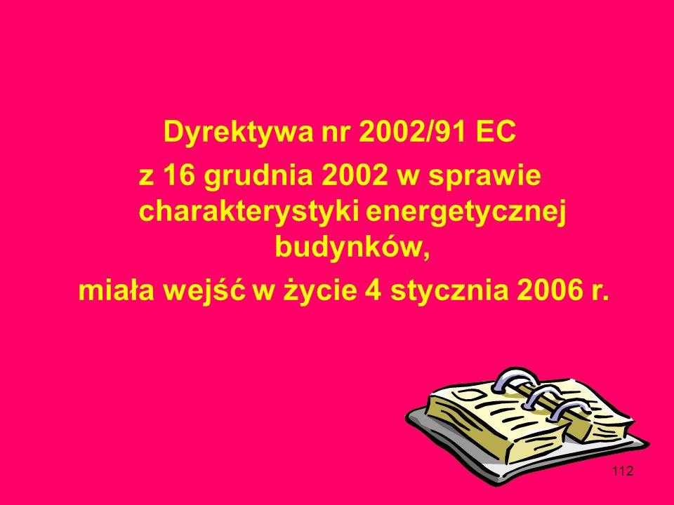 z 16 grudnia 2002 w sprawie charakterystyki energetycznej budynków,
