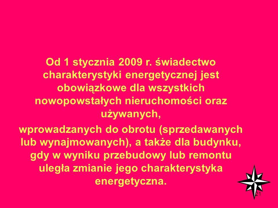 Od 1 stycznia 2009 r. świadectwo charakterystyki energetycznej jest obowiązkowe dla wszystkich nowopowstałych nieruchomości oraz używanych,