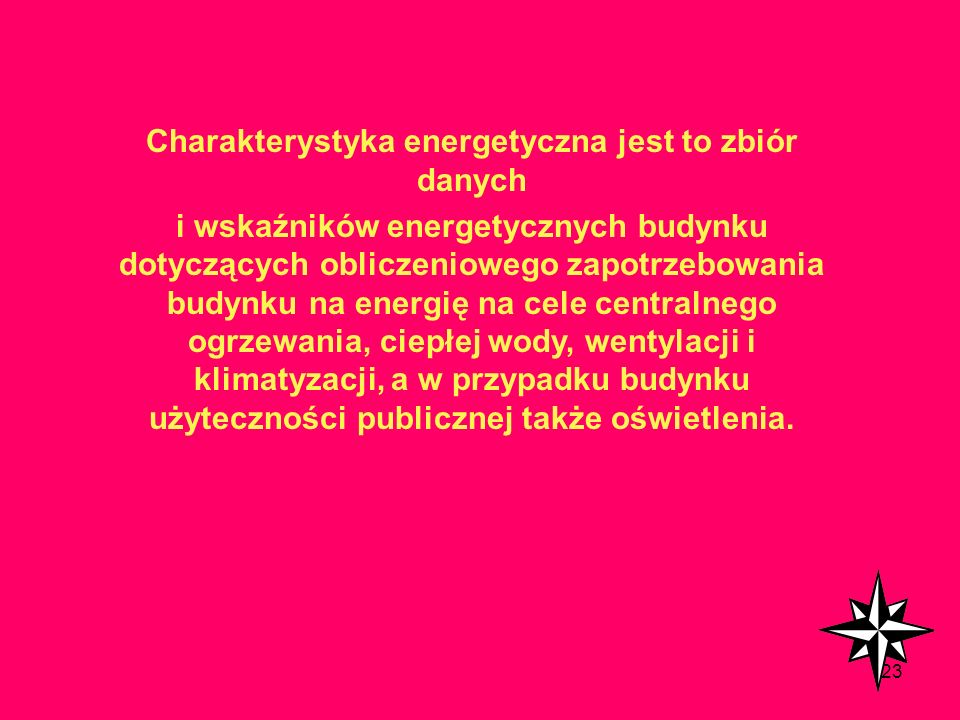 Charakterystyka energetyczna jest to zbiór danych