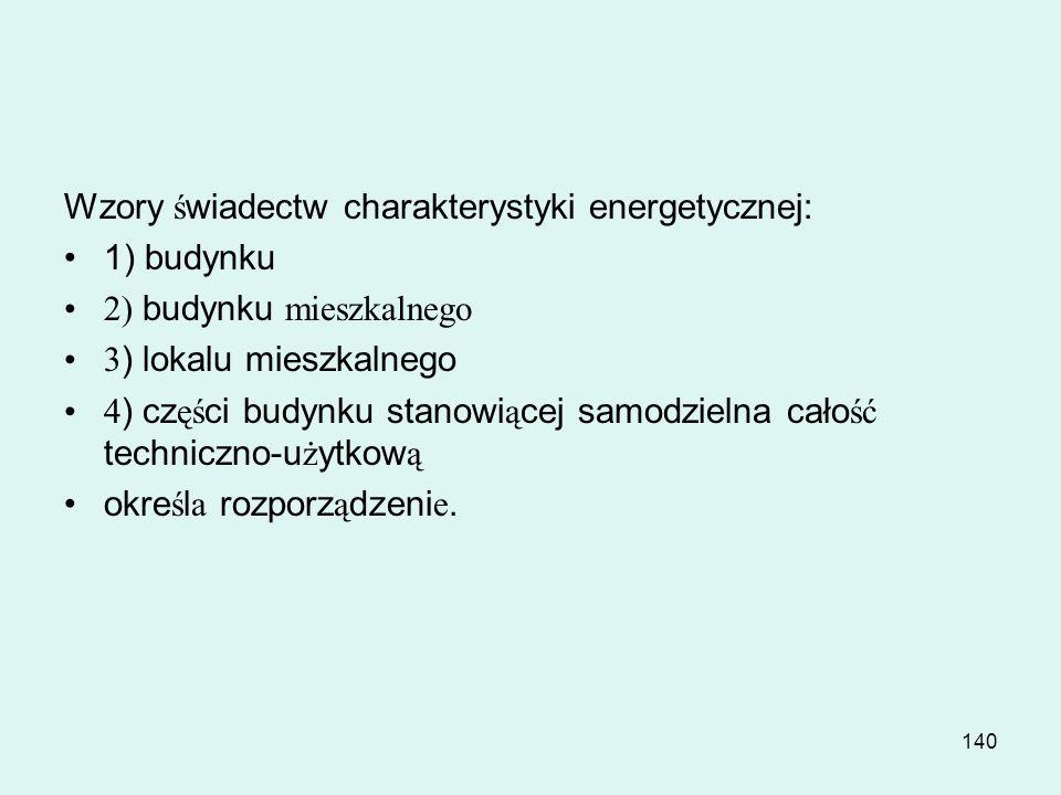Wzory świadectw charakterystyki energetycznej: