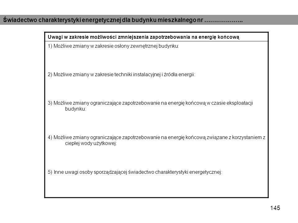 Świadectwo charakterystyki energetycznej dla budynku mieszkalnego nr ………………..