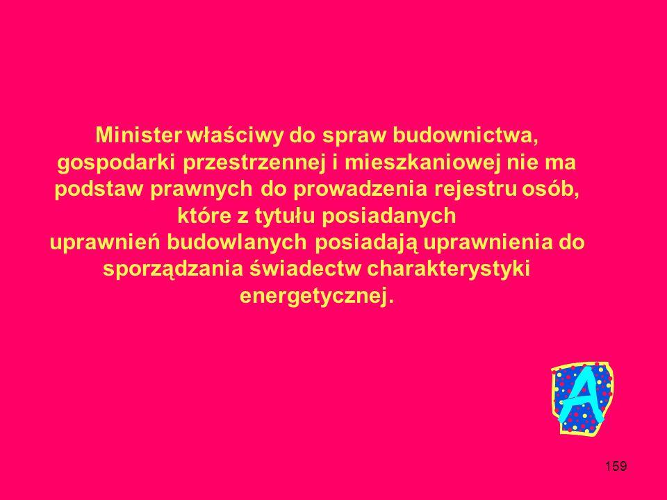 Minister właściwy do spraw budownictwa, gospodarki przestrzennej i mieszkaniowej nie ma podstaw prawnych do prowadzenia rejestru osób, które z tytułu posiadanych