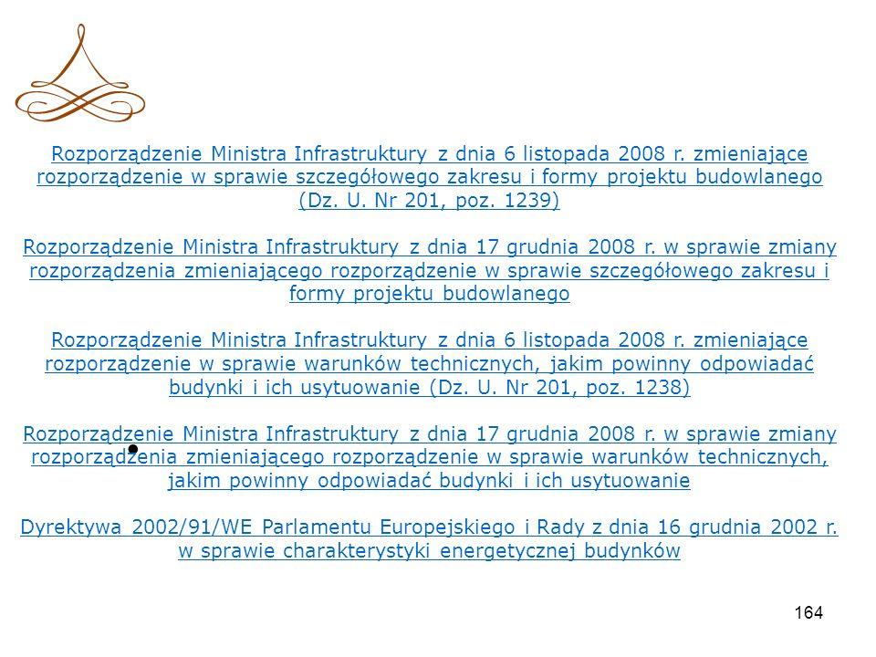 Rozporządzenie Ministra Infrastruktury z dnia 6 listopada 2008 r