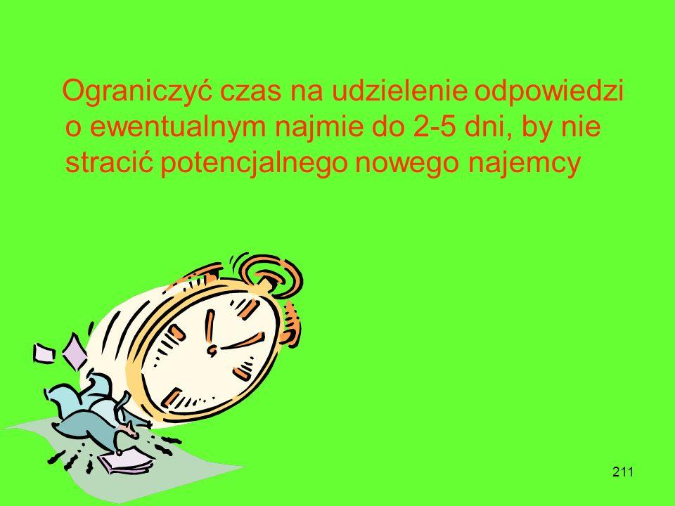 Ograniczyć czas na udzielenie odpowiedzi o ewentualnym najmie do 2-5 dni, by nie stracić potencjalnego nowego najemcy