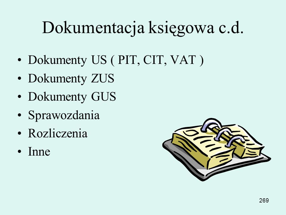 Dokumentacja księgowa c.d.