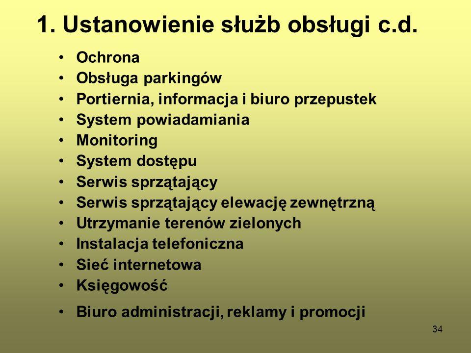 1. Ustanowienie służb obsługi c.d.