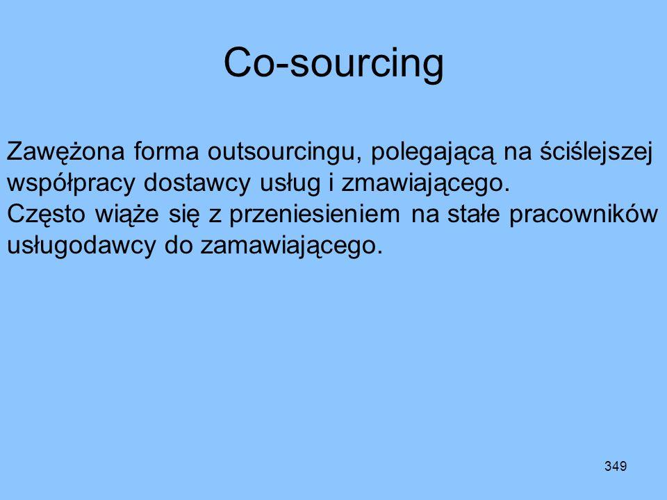 Co-sourcingZawężona forma outsourcingu, polegającą na ściślejszej współpracy dostawcy usług i zmawiającego.