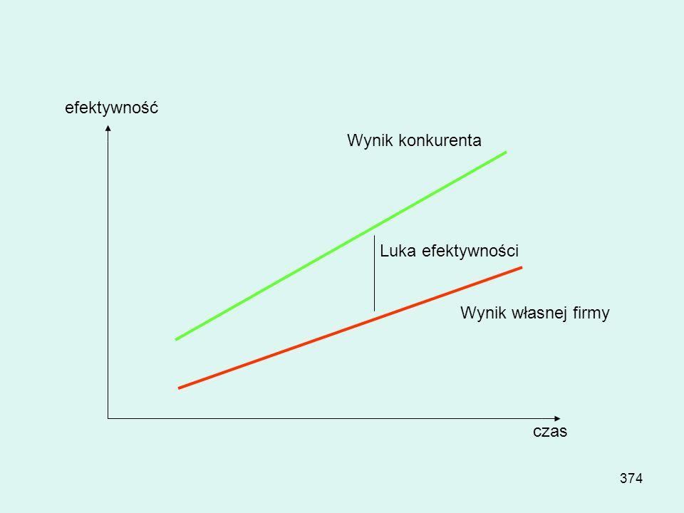 efektywność Wynik konkurenta Luka efektywności Wynik własnej firmy czas