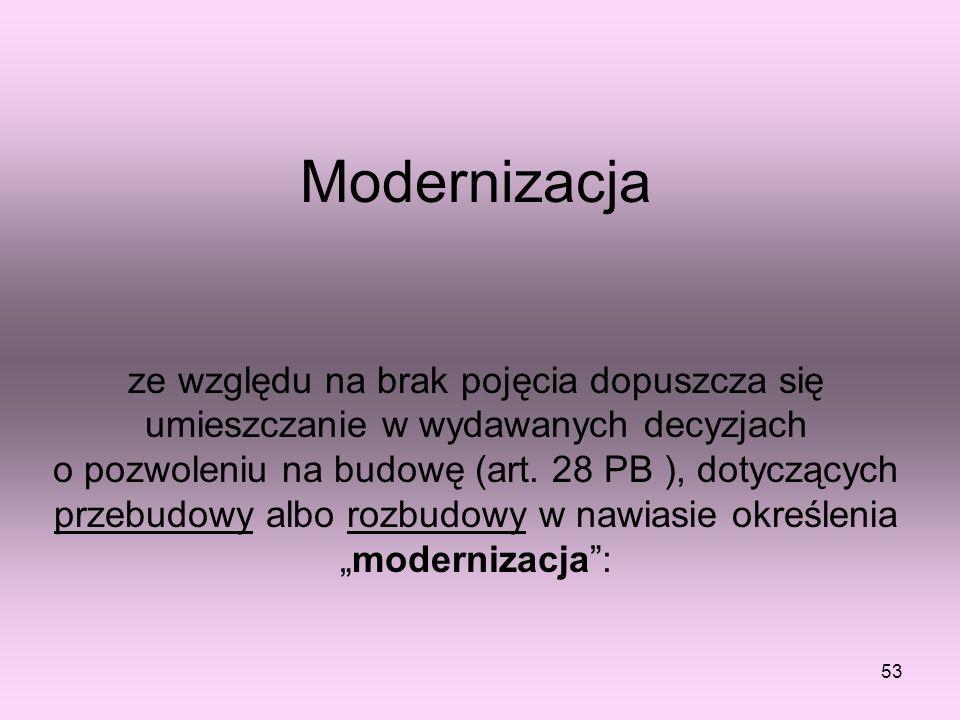 Modernizacja ze względu na brak pojęcia dopuszcza się umieszczanie w wydawanych decyzjach o pozwoleniu na budowę (art.