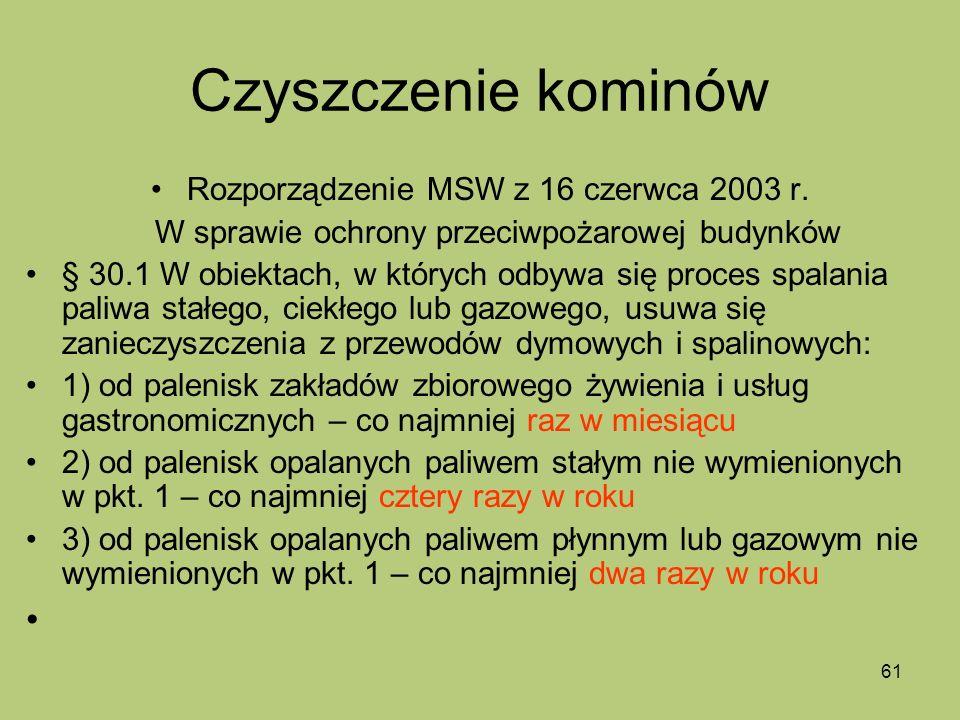 Czyszczenie kominów Rozporządzenie MSW z 16 czerwca 2003 r.