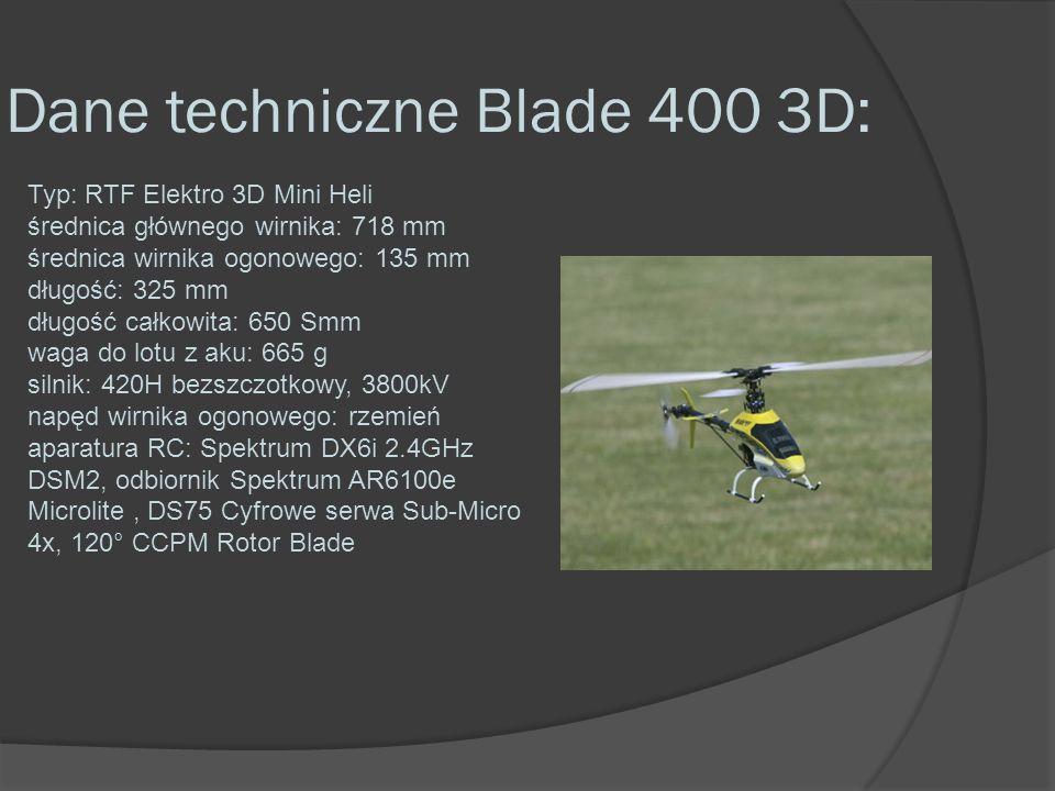 Dane techniczne Blade 400 3D: