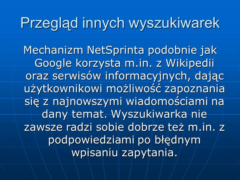 Przegląd innych wyszukiwarek
