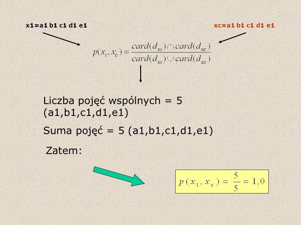 Liczba pojęć wspólnych = 5 (a1,b1,c1,d1,e1)