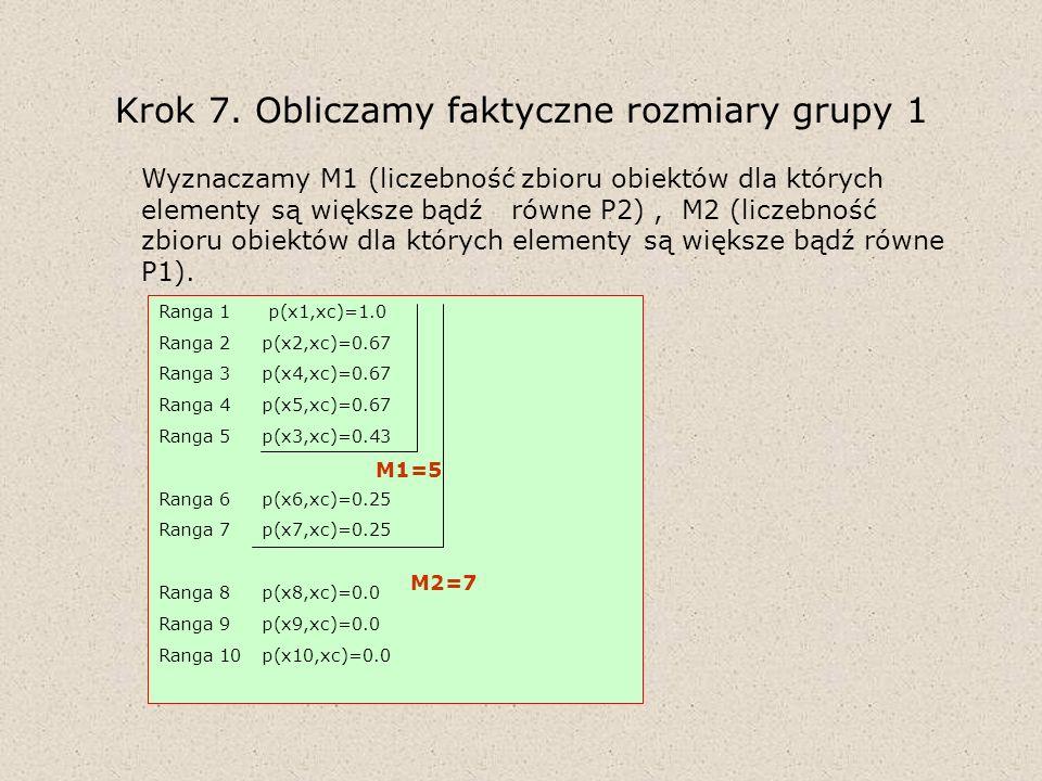 Krok 7. Obliczamy faktyczne rozmiary grupy 1