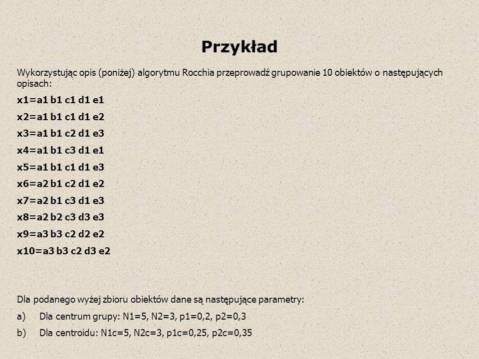 Przykład Wykorzystując opis (poniżej) algorytmu Rocchia przeprowadź grupowanie 10 obiektów o następujących opisach: