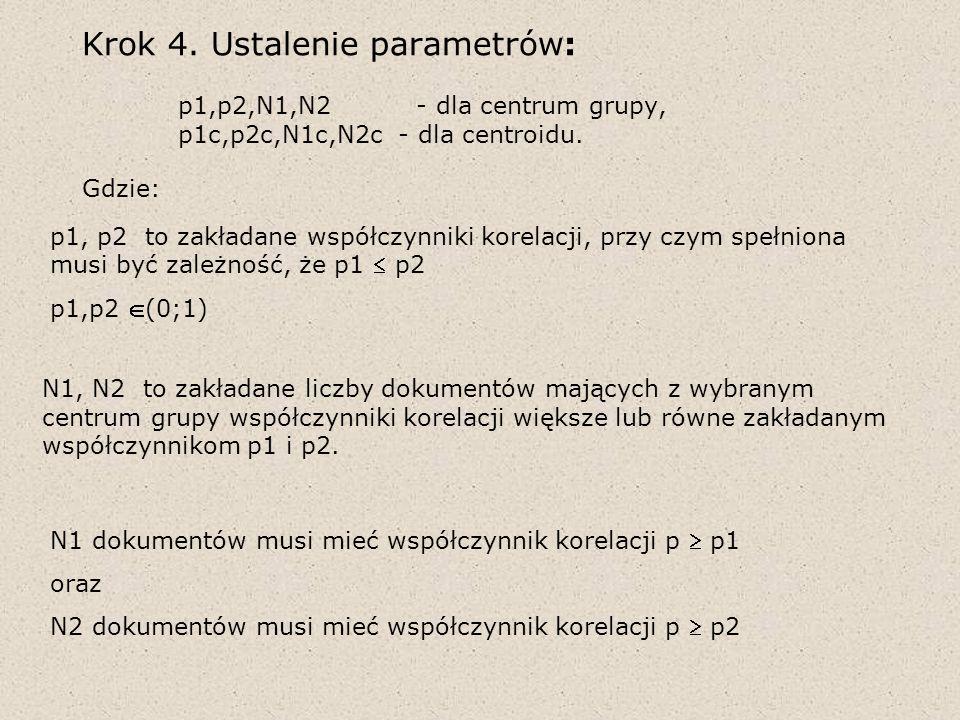 Krok 4. Ustalenie parametrów:. p1,p2,N1,N2 - dla centrum grupy,