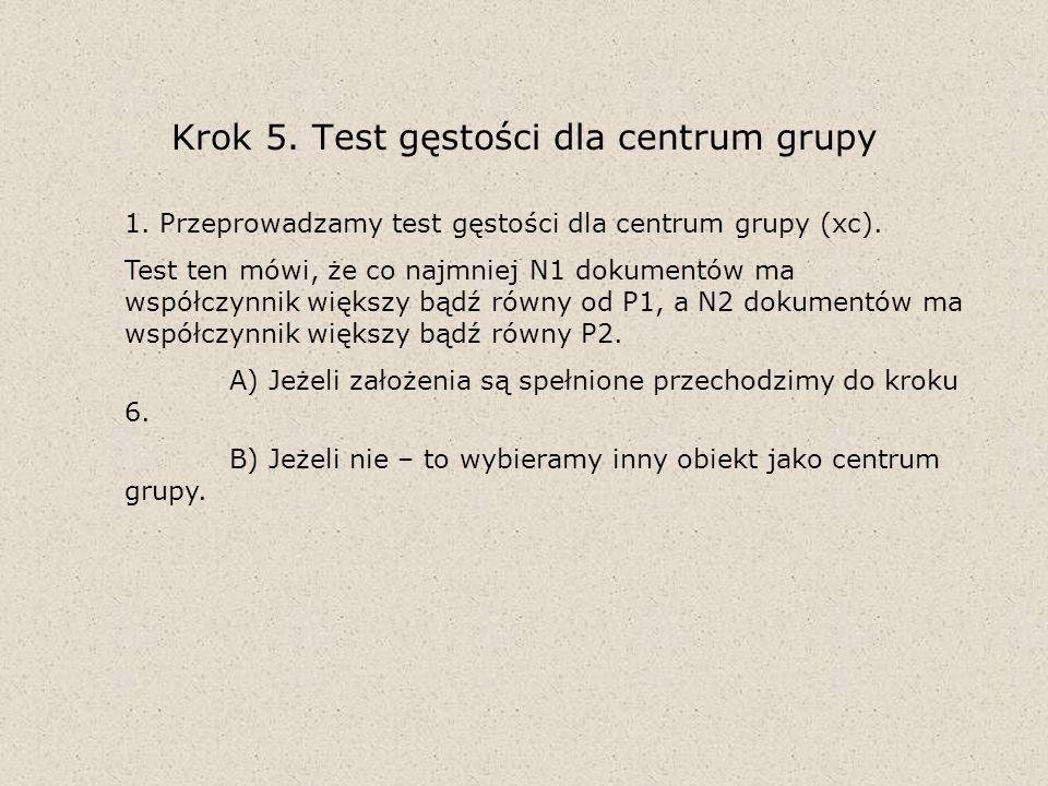 Krok 5. Test gęstości dla centrum grupy