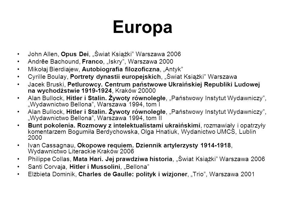 "Europa John Allen, Opus Dei, ""Świat Książki Warszawa 2006"