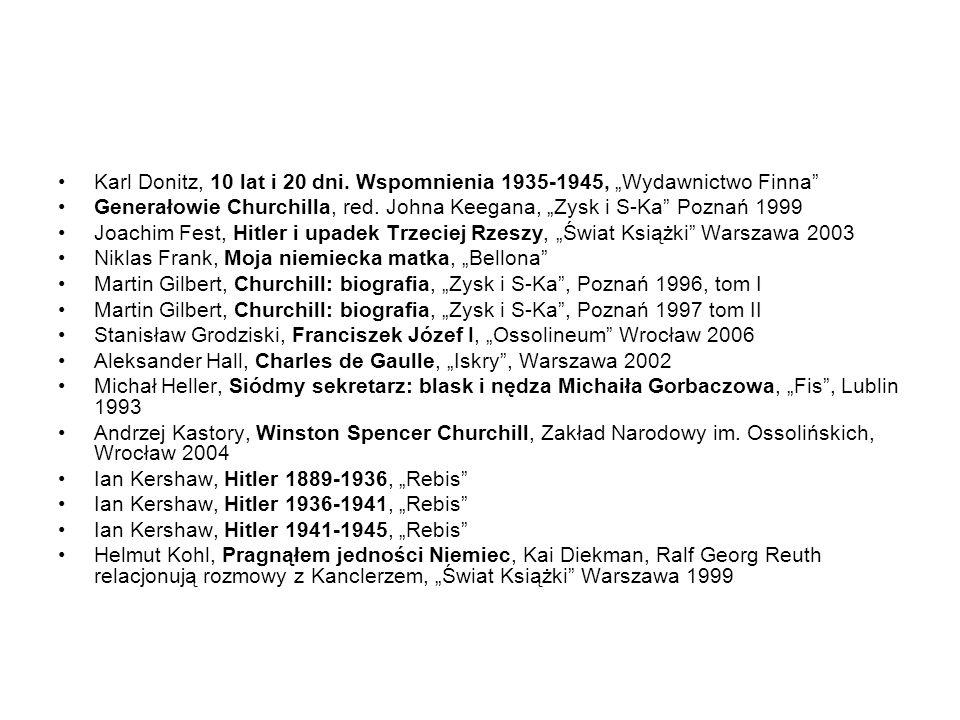 """Karl Donitz, 10 lat i 20 dni. Wspomnienia 1935-1945, """"Wydawnictwo Finna"""