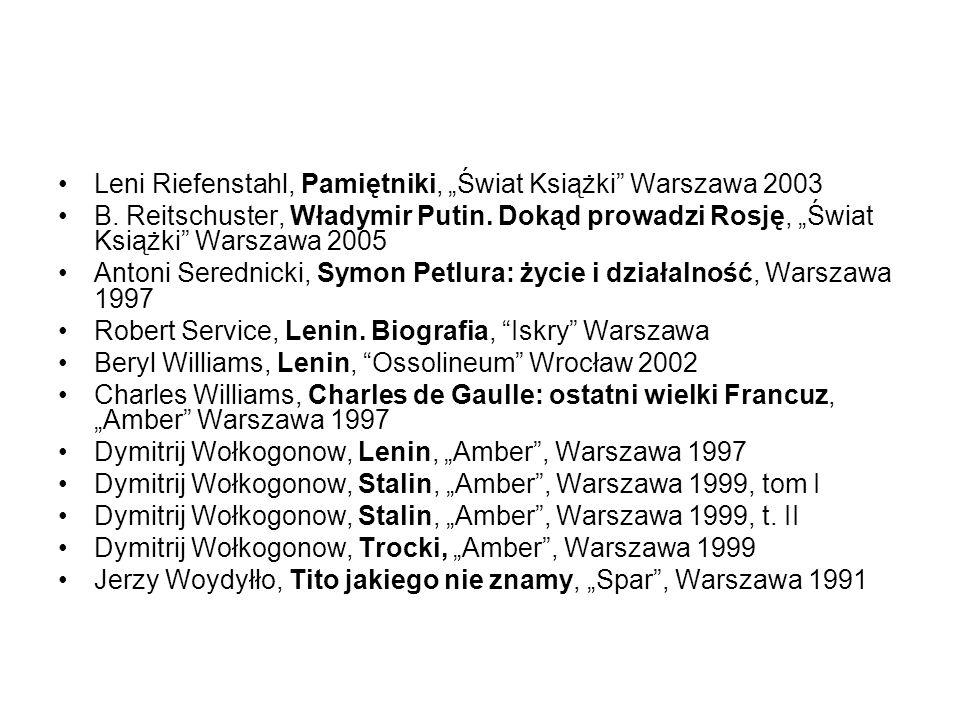 """Leni Riefenstahl, Pamiętniki, """"Świat Książki Warszawa 2003"""