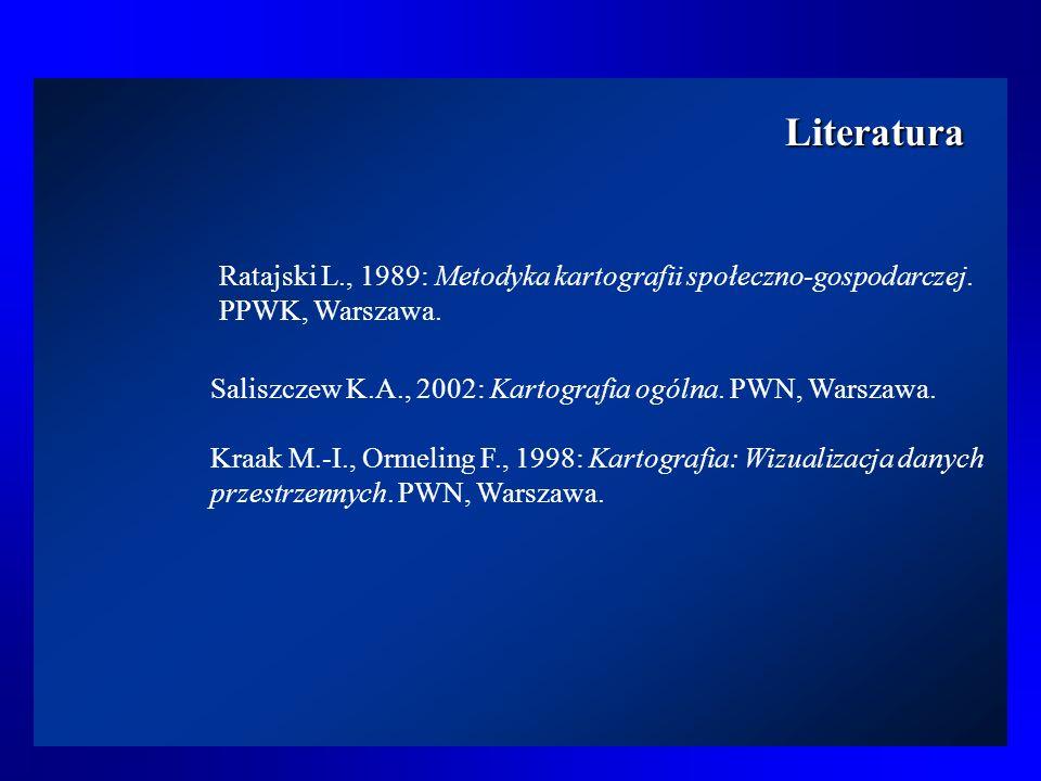 LiteraturaRatajski L., 1989: Metodyka kartografii społeczno-gospodarczej. PPWK, Warszawa. Saliszczew K.A., 2002: Kartografia ogólna. PWN, Warszawa.