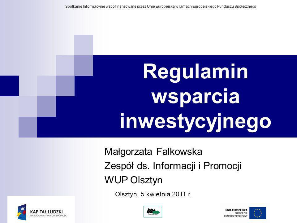 Regulamin wsparcia inwestycyjnego