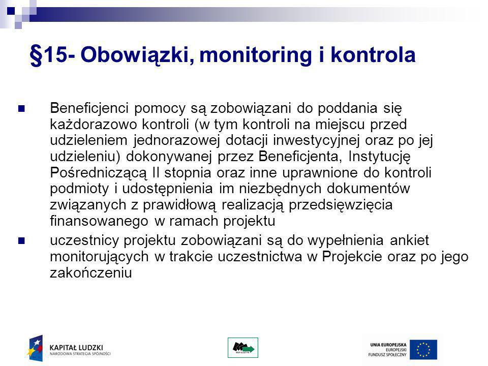 §15- Obowiązki, monitoring i kontrola