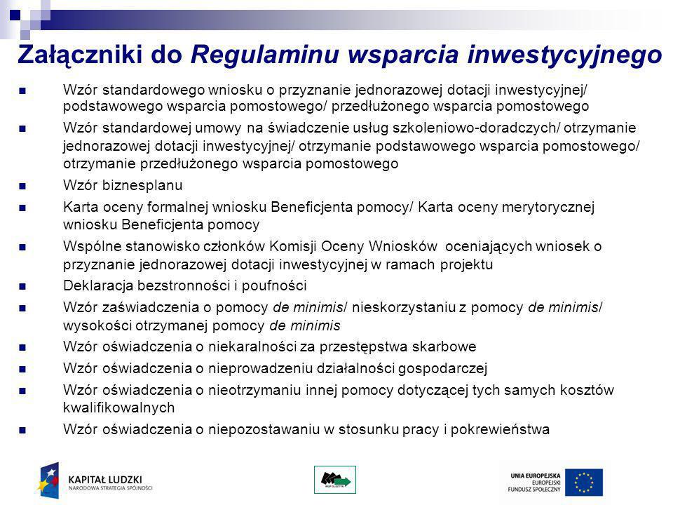 Załączniki do Regulaminu wsparcia inwestycyjnego