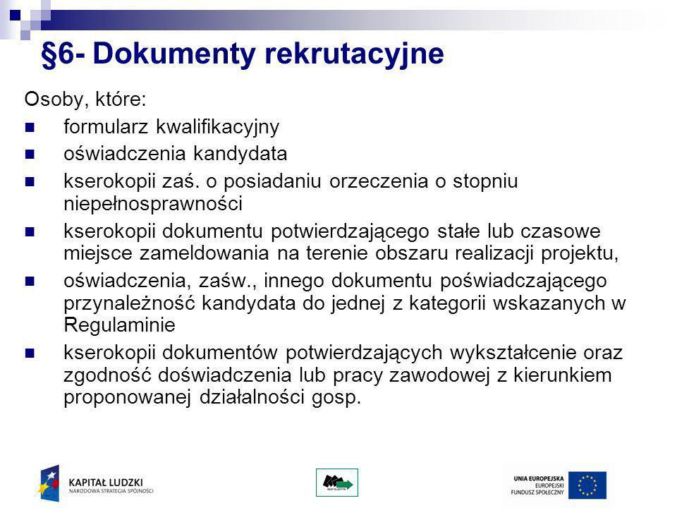 §6- Dokumenty rekrutacyjne