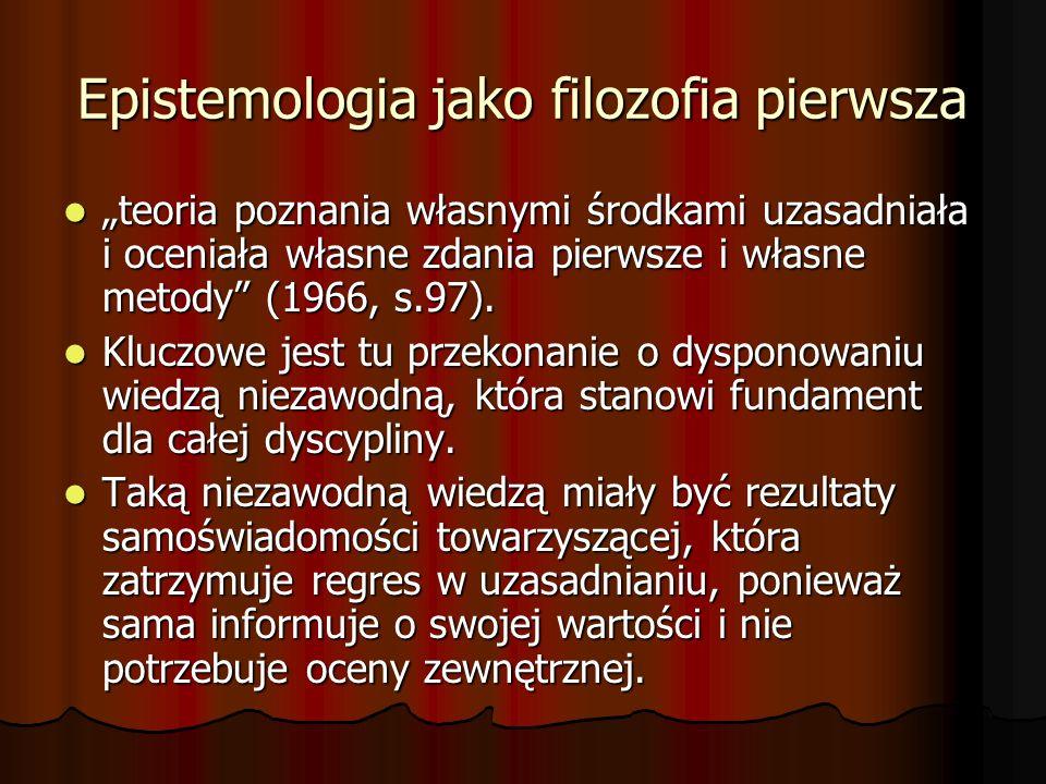 Epistemologia jako filozofia pierwsza