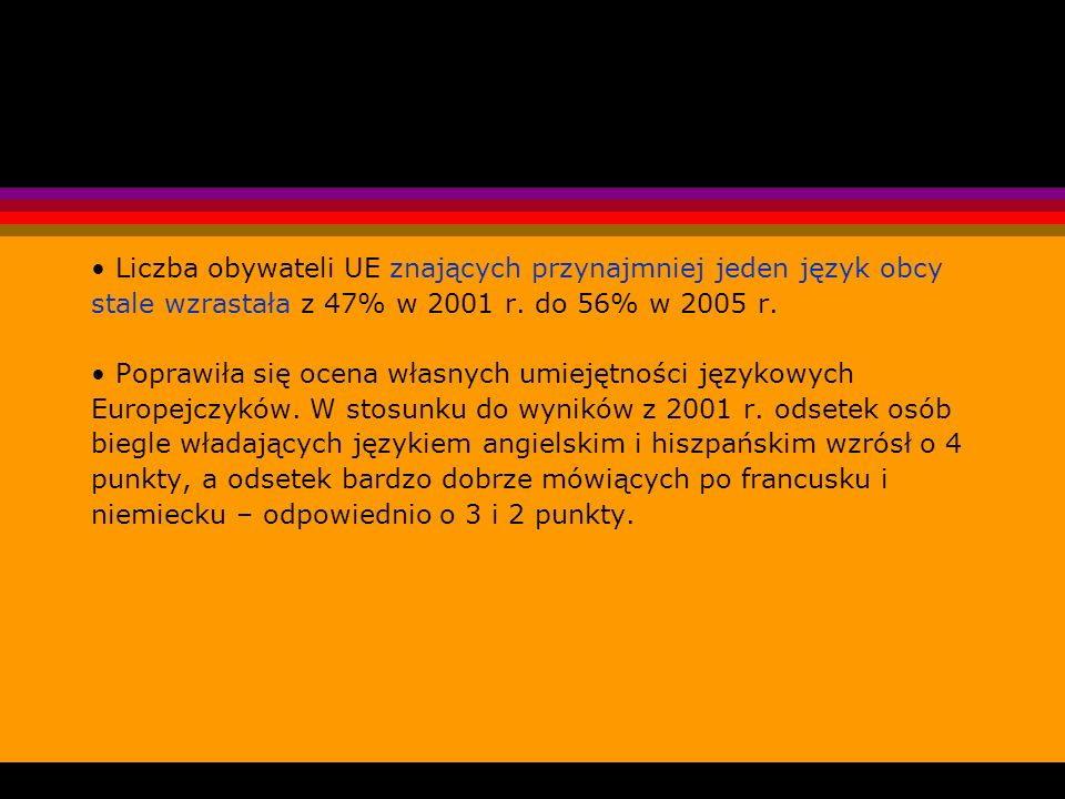 • Liczba obywateli UE znających przynajmniej jeden język obcy