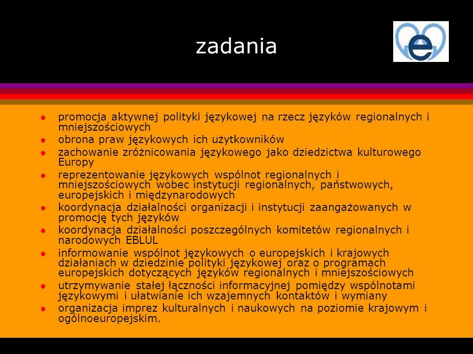 zadania promocja aktywnej polityki językowej na rzecz języków regionalnych i mniejszościowych. obrona praw językowych ich użytkowników.
