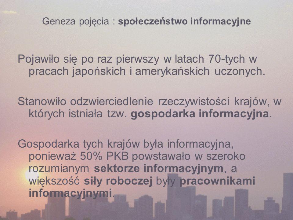 Geneza pojęcia : społeczeństwo informacyjne