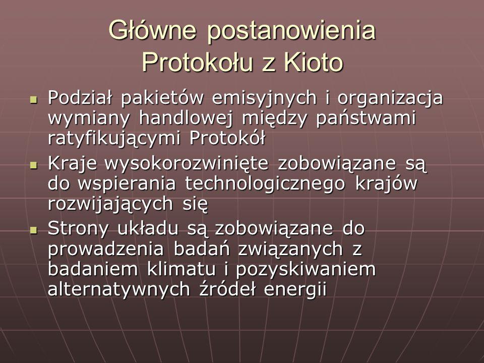 Główne postanowienia Protokołu z Kioto